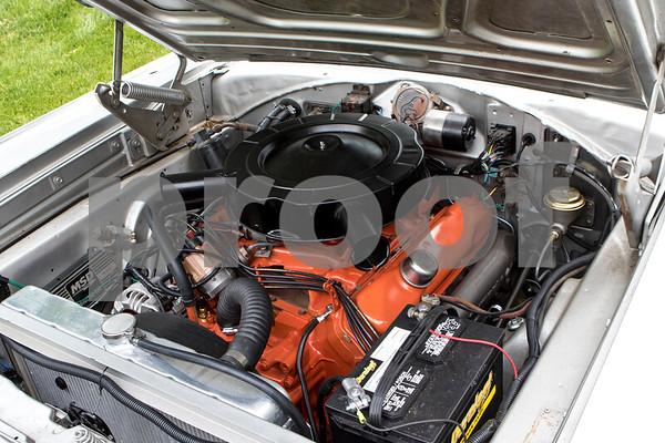 Sam Buckner for Shaw Media.<br /> Engine on Brett Littlefield's 1966 Dodge Charger on Wednesday July 26, 2017.
