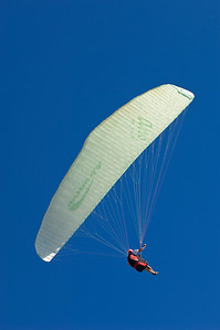 Paragliding above English Channel by southern coast of Isle of Wight, United Kingdom
