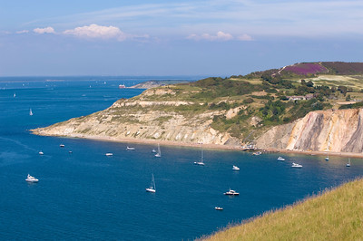 Coast overlooking Alum Bay and English Channel, Isle of Wight, United Kingdom