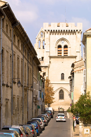 Europe, France, Provence, Villeneuve-Les-Avignon,  Rue de la Hopital and Notre Dam