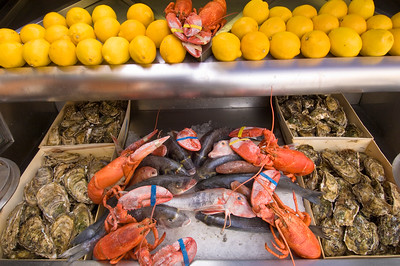 Europe, France, Provence, Nice , seafood being served in a restaurant in Nice Vieux