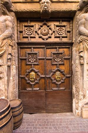 Europe, France, Provence, Frejus, door of wine merchant