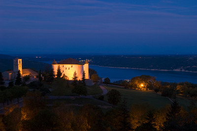 Europe, France, Provence, Aiguines, chateau overlooking Lac de Ste-Croix at night