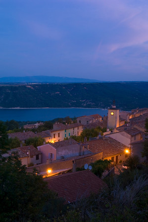Europe, France, Provence, Aiguines at night overlooking Lac de Ste-Croix