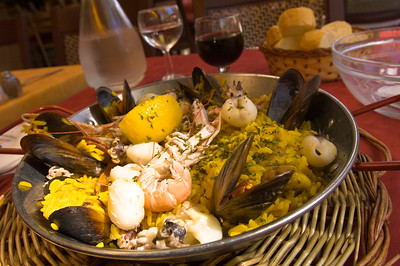 """Europe, France, Provence, Camargue, Aigues-Mortes, restaurant """"Casa Toro Luna"""" specialises in Spanish cuisine and rice dishes as Camargue is main producer of rice in France; paella is served"""