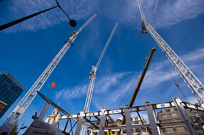 Cranes on construction site of Heron Tower, City of London, London, United Kingdom