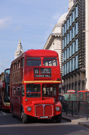 Old red Routemaster on the street in service, London, United Kingdom