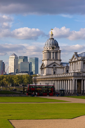 Old Royal Naval College and skyscrapers of Canary Wharf behind seen from Greenwich Park, SE10, London, United Kingdom