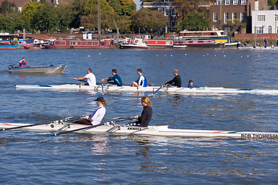 Rowing practice on Thames River, Hammersmith, London, United Kingdom
