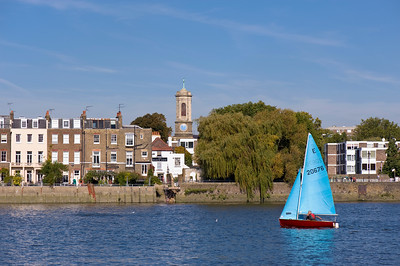 Sailing on Thames River off Chiswik embankment, London, United Kingdom