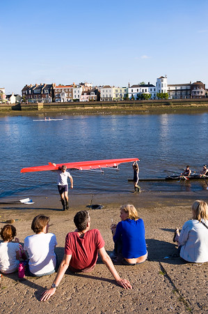 Boat race on Thames River by Chiswick and Barnes, London, United Kingdom