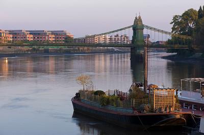 Hammersmith Bridge and riverside, W6, London, United Kingdom