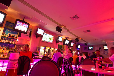 United States Of America, Florida, Miami, South Beach, Ocean Drive, bar at Clevelander Hotel in the evening
