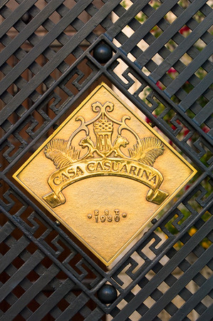United States Of America, Florida, Miami, South Beach, Ocean Drive, gate detail, Casa Casaurina, Versace Mansion