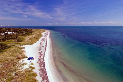 United States Of America, Florida, Miami, Key Biscayne, Bill Baggs Cape Florida State Park , view over beach and Atlantic Ocean from lighthouse