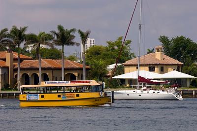 Waterbus transporting passengers along Intercoastal Wateway, For