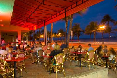 Restaurant on Fort Lauderdale Beach Boulevard overlooking beach in evening, Fort Lauderdale, Gold Coast, Florida, United States of America