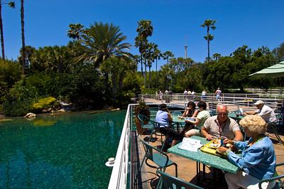 Visitors having lunch, Seaworld theme park, Orlando, Florida, United States of America