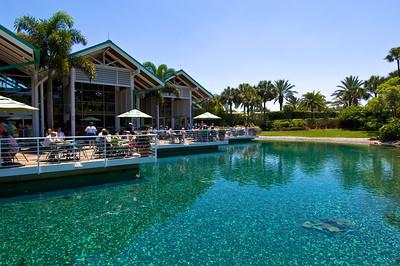 Visitors having lunch, Seaworld theme park, Orlando, Florida, United States of America