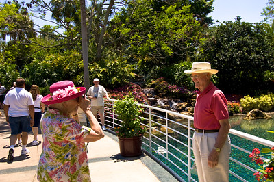 Elderly visitors, Seaworld theme park, Orlando, Florida, United States of America