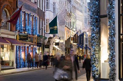 Shops on Bond Street at Christmas time, London, United Kingdom