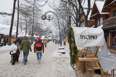 People shopping on Krupowki Street, Zakopane, Tatra Mountains, Podhale Region, Poland