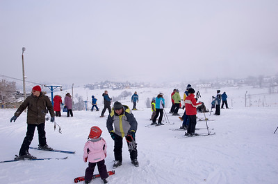 Winter leisure sports in Bukowina Tatrzanska, Tatra Mountains, Podhale Region, Poland