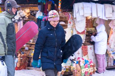 People shopping at local market stalls, Zakopane, Tatra Mountains, Podhale Region, Poland