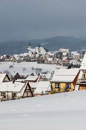 Kluszkowce village covered in snow, Tatra Mountains, Podhale Region, Poland