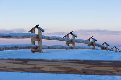 Wooden fence covered in snow, Gubalowka Hill, Zakopane, Tatra Mountains, Podhale Region, Poland