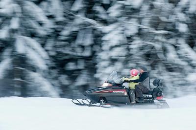 Snowmobile ride on Gubalowka Hill, Zakopane, Tatra Mountains, Podhale Region, Poland