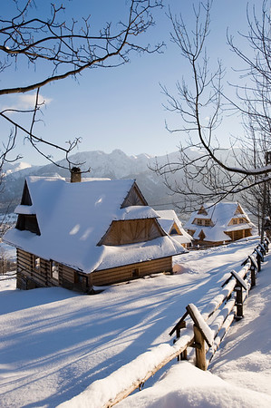 Traditional architecture of Zakopane and view of Tatra Mountains, Podhale Region, Poland