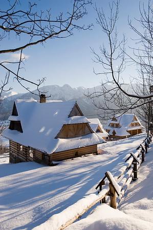 Traditional architecture of Zakopane and view of Tatra Mountains, Podhale Region, Poland
