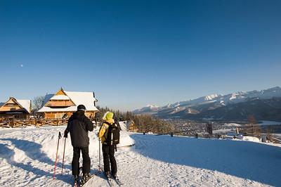 Skiers on Gubalowka Hill, Zakopane, Tatra Mountains, Podhale Region, Poland