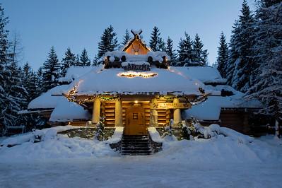 Traditional local architecture of local inn, Zakopane, Tatra Mountains, Podhale Region, Poland