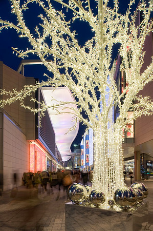 Illuminated street by Westfield Shopping Centre during Christmas, White City, W12, London, United Kingdom