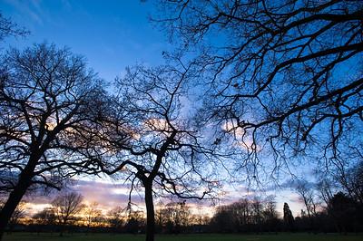 Dramatic sky at sunset over Walpole Park, Ealing, W5, London, United Kingdom