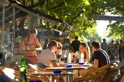 Europe, Bulgaria, Stara Zagora, Bars and restaurants along Bulevard Simeon Veliki