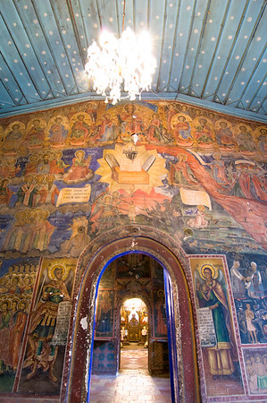Europe, Bulgaria, Preobrazhenski Monastery is located near Veliko Tarnovo, founded  in 1360 by Ivan Aleksander's Jewish wife who converted to Christianity. Frescoes being restored