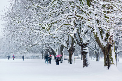 Ealing Common covered in snow, February, Ealing, W5, London, United Kingdom