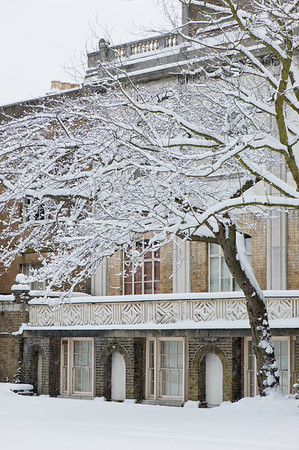 Pitzhanger Manor House in Walpole Park covered in February snow, Ealing, W5, London, United Kingdom