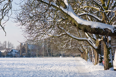 The Common covered in snow, W5, London, United Kingdom
