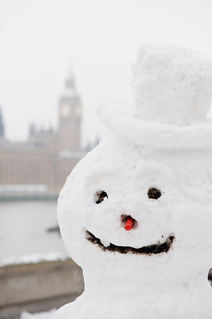 Snowman on Albert Embankment, London, United Kingdom