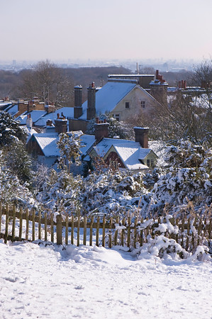 Hampstead Heath covered in snow, NW3, London, United Kingdom