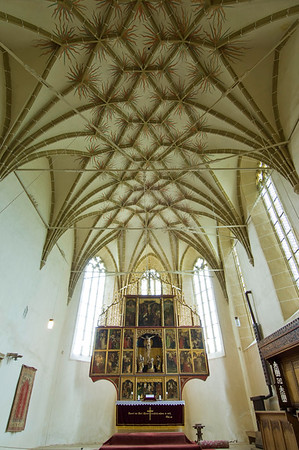 Europe, Romania, Transylvania , fortified church in the Saxon town of Biertan, interior and altarpiece
