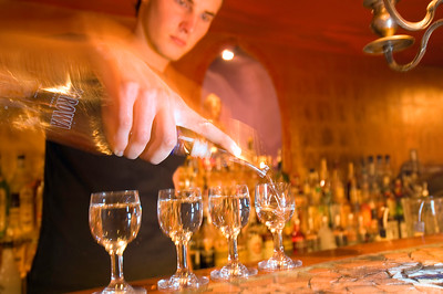 Vodka is being served in one of the new fancy and funky bars in