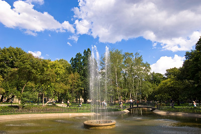 Poland, Cracow, Planty, fountain