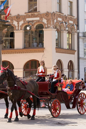 Poland, Cracow, horse drawn carriages on Rynek Glowny