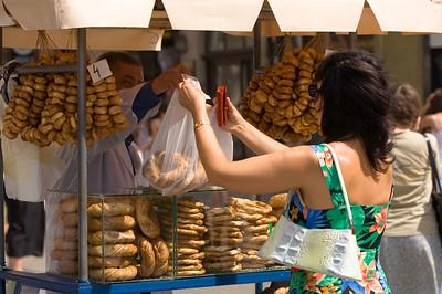 Poland, Cracow, Krakowskie obwarzanki ( pretzel Cracow style ) on sale