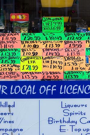 Discounted alcohol in Off Licence shop on Uxbridge Road, Shepherds Bush, W12, London, United Kingdom